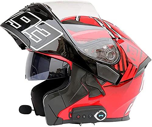 OOMEI Casco de Moto Modular Bluetooth Integrado,Cascos Modulares de Moto Visera Doble,Certificación ECE Hombres Mujeres Cascos Moto con Micrófono Integrados para Respuesta Automática