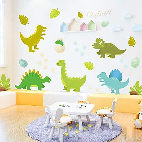 JUNZE Pegatinas de Pared de Dinosaurio de Dibujos Animados decoración de la habitación de los niños Pegatinas de Puerta de Armario Lindo Pegatinas de Pared de Graffiti de PVC