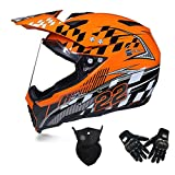 MRDEAR Conjunto de Casco Cross (Casco MTB Integral/Guantes/Máscara) Casco Motocross con Visera, Casco Downhill Adulto Enduro Quad Off-Road Racing Scooter Motocicleta, 3 Colores,Naranja,L