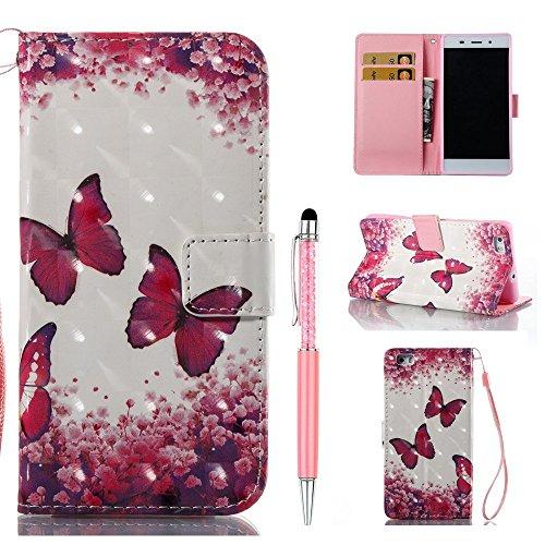 ZCRO Custodia per Huawei P8 Lite 2015/2016 Cover in Pelle, Custodia Cover Cuoio Portafoglio Magnetica Flip Case 3D Colorate Disegni Libro e Penna Stilo per Huawei P8 Lite 2015/2016 (Fiore Farfalla)
