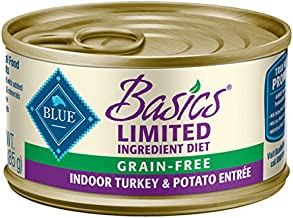 Blue Buffalo Basics Limited Ingredient Diet, Grain Free Natural Adult Pate Wet Cat Food, Indoor Turkey 3-oz cans (Pack of 24)