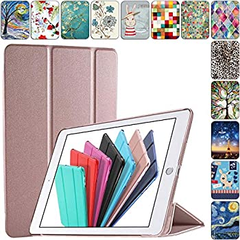 DuraSafe Cases for iPad Mini 3 2 1 Generation 7.9 Inch [ Mini 3rd Mini 2nd Mini 1st] A1599 A1600 A1489 A1490 A1491 A1432 A1454 A1455 TriFold Hard Smart PC Translucent Back Cover - Rose Gold