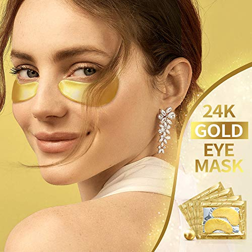 51HASfigQ1L - 24K Gold Under Eye Mask - Eye Patches Treatment for Puffy Eyes Pure Collagen Golden Anti-aging Dark Circles Eye Bags Wrinkles Pads Masks Cooling Eye Spa Hydrogel Undereye patch - 20 Pairs (GOLD)