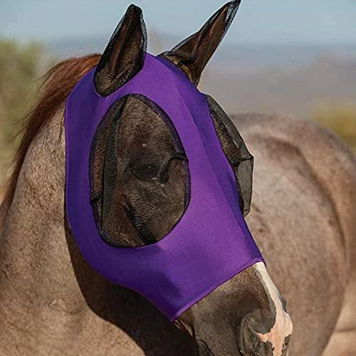Anti-fly Anti-mosquito Paard Masker Verstelbaar Masker Horse Gezicht Paard Hoofd Cover Oren Hood Volledige Gezicht Mesh Ruiter Masker(Color:Purper)