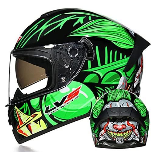 Casco de motocicleta de cara completa unisex para adultos Hombres Mujeres Forro extraíble aprobado ECE Moto de motor Casco de motocross de doble visor Moto Cascos,11,S 55~56cm