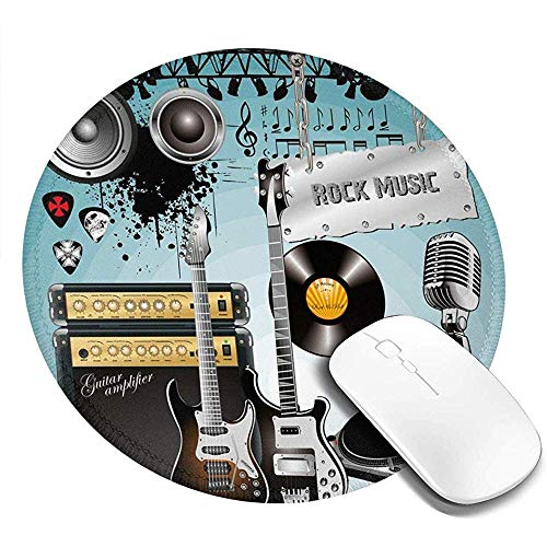 Ronde muismat, Concert Patroon Gitaren en Records met Giant Speakers Ornamental Arrangement, Non-lip Gaming Mouse Mat