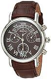 MATTHEY-TISSOT Correa de cuero de cuarzo de acero inoxidable para hombre, marrón, 20 reloj casual (Modelo: H7030AM)