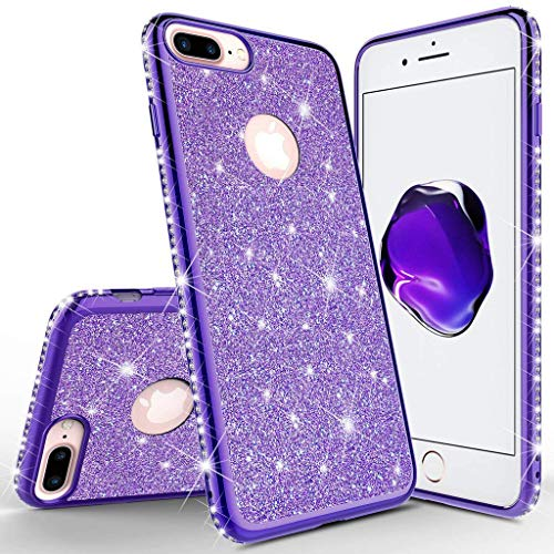 Homikon Silikon Hülle Kompatibel mit iPhone 7 Plus/8 Plus Überzug TPU Bling Glitzer Strass Diamant Schutzhülle Ultra Dünn Kratzfest Soft Flex Durchsichtig Silikon Handyhülle Tasche Case - Lila