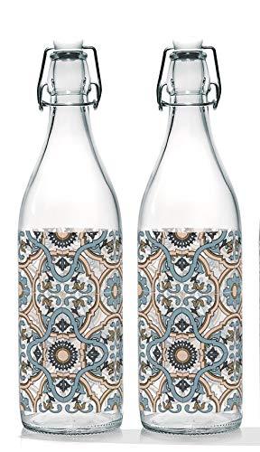 Baroni Home Juego de 2 botellas de agua de cristal de mesa decoradas con tapón hermético Maioliche Made in Italy capacidad 1 l