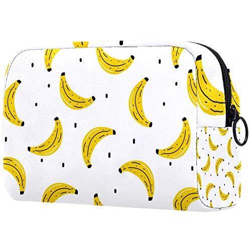AITAI Bolsa de maquillaje grande bolsa de viaje cosmético organizador amarillo plátano patrón de frutas de verano