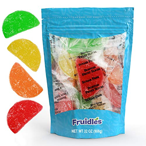 Original Jelly Fruit Slices Sugar-Free, Gummi Sweet Confection Candies, Traditional Old Fashioned, Vegan, Gluten-Free, Kosher Certified Parve (2 Pound)