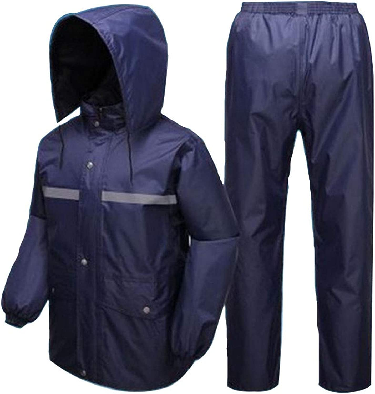 LICCC Reflektierender Regenmantel Regenhose Set Doppel Dick Poncho Mnnlichen Und Weiblichen Erwachsenen Split Regenmantel (Farbe   Blau, Größe   XXXXL)