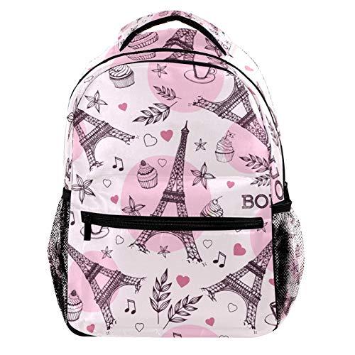 Pink Paris Eiffel Tower Music Note Laptop Backpack for Men School Bookbag Travel Rucksack Daypack School Bag for Women Girls