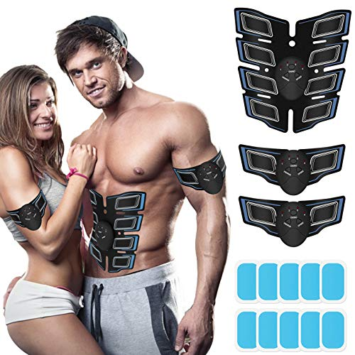 JoJoMooN Muscle Toner Abdominal Toning Belt ABS Toner Body Muscle Trainer Wireless Portable Unisex Fitness Training Gear for Abdomen/Arm/Leg Training Home Office Exercise