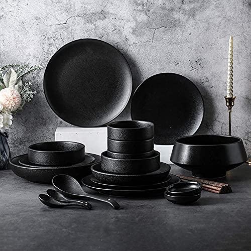 Platos de cena, platos de cena elegantes, juegos de cena de cerámica, tazón de cereal de esmalte negro mate de 46 piezas y juego de platos para carne  Juego de vajilla de porcelana para reuniones fam