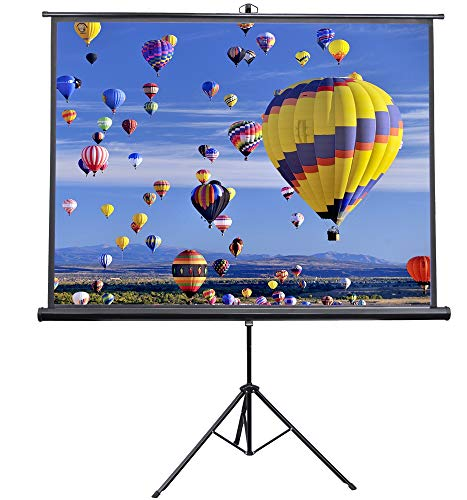VIVO 84 inch Portable Indoor Outdoor Projector Screen, 84 Inch Diagonal Projection HD 4:3 Projection Pull Up Foldable Stand Tripod, PS-T-084