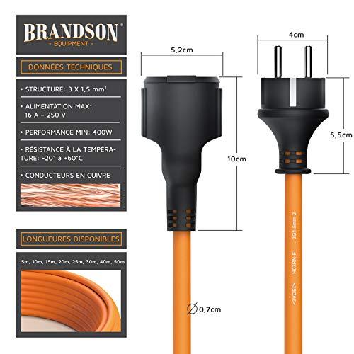 Brandson - Rallonge électrique extérieure de 50m - câble d'extension électrique 3500 Watt - fiche schuko-F vers Prise Type F- IP44 H07RN-F 3G de 1,5 mm - 16 A 250 V - prolongateur Jardin avec clapet