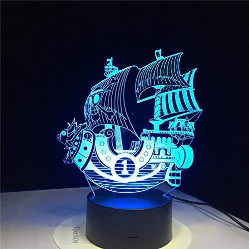 SCNYCUL 3D LED lámpara mesa luz nocturna Vela de barco pirata de dibujos animados16 colors niño regalo de fiesta de Navidad decoración hogar