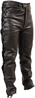 men's lace up leather trousers