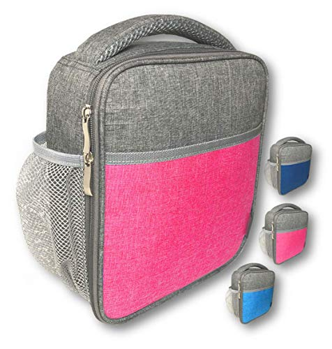 Lunch Box for Kids Girls Teens, Insulated Bag for School, Soft Bags for Work, Compact Small Leakproof Cooler Boxes for Lunches Adult Girl Tween, Water Bottle Holder (Pink Grey)