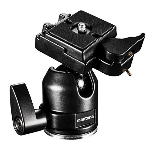 Mantona Rótula XL para trípode Scout (Capacidad de Carga máx. de 6 kg, Incluye Adaptador de Rosca de 3/8 a 1/4 Pulgadas y Placa de liberación rápida), Color Negro