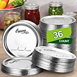 36-Count, [ WIDE Mouth ] Canning Lids for Ball, Kerr Jars - Split-Type Metal Mason Jar Lids for Canning - Food Grade Material, 100% Fit & Airtight for Wide Mouth Jars - PATENT PENDING