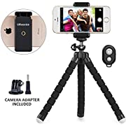 Phone Tripod, UBeesize Premium Flexible Travel Tripod Portable and Adjustable Camera Stand Holder with Bluetooth Remote and Universal Clip for iPhone, Android Phone, Mini Tripod Stand Holder for Small Camera and GoPro (Black)