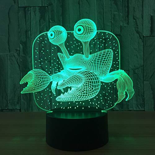 Decoración del hogar única cangrejo led lámpara de mesa 3d baloncesto de mano luz nocturna visual lámpara de mesa USB lámpara de mesita de noche inteligente