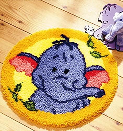 Kit de alfombra de gancho para hacer alfombras para decoración del hogar, kit de gancho de cierre con patrón de elefante (52 x 52 cm)