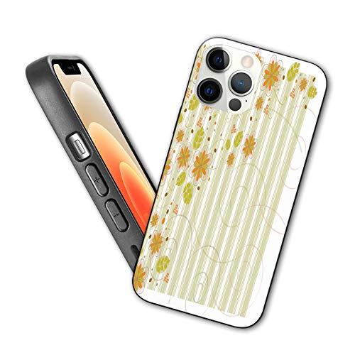 Compatible con iPhone 12 Series 2020 Retro Flourishing Spring Flowers y Swirled Ranches sobre fondo a rayas para iPhone 12 Mini 5.4 pulgadas