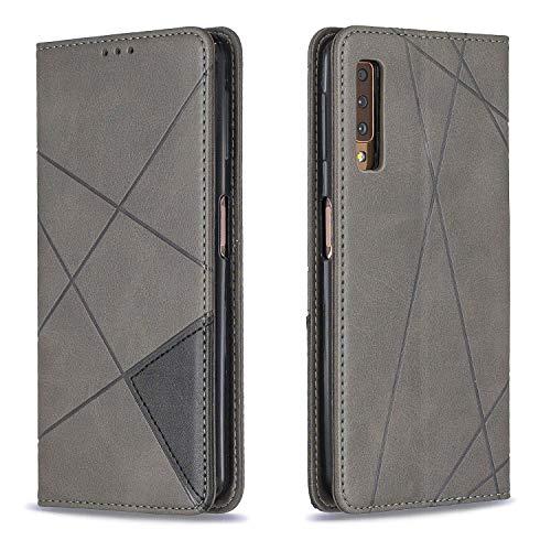 Hülle für Galaxy A7 2018 Lederhülle Flip Tasche Klappbar Handyhülle mit [Kartenfächer] [Ständer Funktion], Cover Schutzhülle für Samsung Galaxy A7 2018/A750FN - JEBF090105 Grau