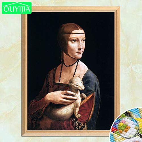 tzxdbh Cuadro Famoso de Da Vinci Señora con un armiño 5D DIY Diamante Pintura Cuadrado Completo Diamante Bordado Diamantes de imitación Mosaico Cuadro