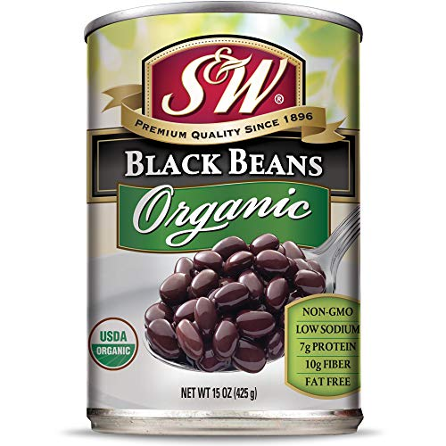 S & W • Canned Organic Black Beans (12 Pack), Vegan, Non-GMO, Natural Gluten-Free Bean, Sourced and Packaged in the USA, 15 Ounce Can