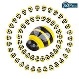 100 pegatinas autoadhesivas de abeja de madera pequeña de abeja para decoración de tarjetas