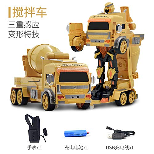 Metermall 1:12 Children Transform Car Toy Gesture Sensing Wireless Remote Control Engineering Vehicle Excavator Truck Transformable Model Mixer (watch + induction) 1:12