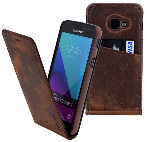 Suncase Original Flip-Style kompatibel Samsung Galaxy Xcover 4s Lederhülle Ledertasche Tasche Schutzhülle Hülle Cover Hülle in antik Coffee