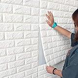 10 pannelli da parete 3D, effetto pietra, carta da parati, 70 x 77 cm, in schiuma PE, fai da te, goffratura, decorazione da parete (bianco)