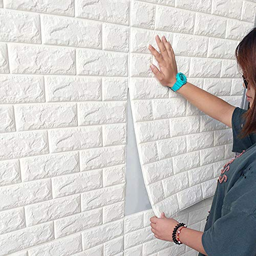 10pcs 3D Wandpaneel selbstklebende Stein Aussehen Tapete 70 x 77 cm PE Foam DIY Brick Stone Embossed Wall Paper Wall Stickers Wall Decor (weiß) (Weiß)
