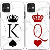 Mertak TPU Couple Cases Compatible with iPhone 12 Pro Max Mini 11 SE Xs Xr 8 Plus 7 6s Queen Girlfriend Protective King Relationship Texture Soulmate Lightweight Design Marble Playing Cards Luxury