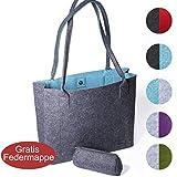 FilzGut® Shopper Greta - Größe M (15L) als Einkaufstasche - große Handtasche oder Schultertasche...