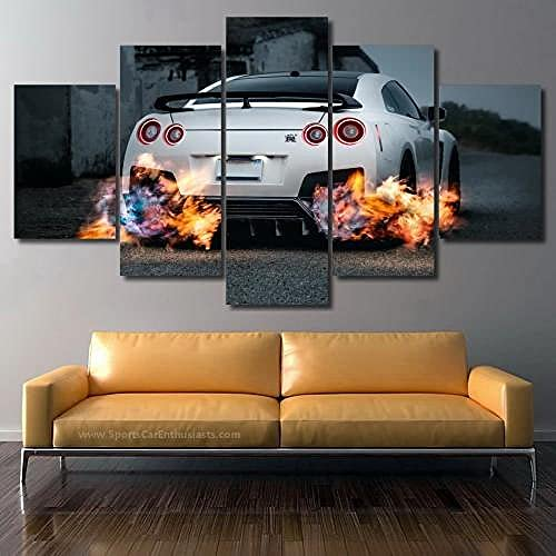 QQWW 5 Piezas Cuadro sobre Lienzo- Nissan GT-R R35 Impresión Artística Imagen Gráfica-5 Piezas-Impresión en Lienzo Listo para Colgar-en un Marco,Moderna decoración del hogar