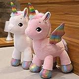 2 Unids / Set 40 Cm Unicornio De Peluche De Juguete Arcoíris Alas Brillantes Muñeco De Unicornio Relleno Animal Caballo Juguete para Niña