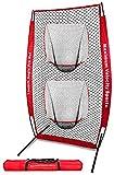 Maximum Velocity Sports 5'×10' Baseball Softball Practice Net w/ 12 Smushballs   The ONLY Launch Angle Pro Training Net   Double Sock Practice Net   Hitting Batting Training Net w/Carry Bag.
