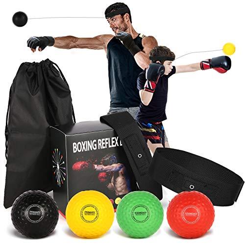 Pezimu Boxing Reflexball | Box-Trainingsball geeignet für Erwachsene & Kinder | Box-Reflexball für das Training von Reflex, Reaktion und Auge-Hand-Koordination (4 Bälle + 2 Stirnbänder)