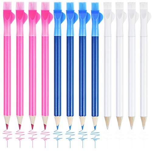 SKPPC 12 Pieces Sewing Fabric Water Soluble Pencil Tailor Mark Pencil,Dressmaker's Fabric Chalk Pencil with Brush Cap for Home Tailor Marker and Tracing Tools, 3 Colors