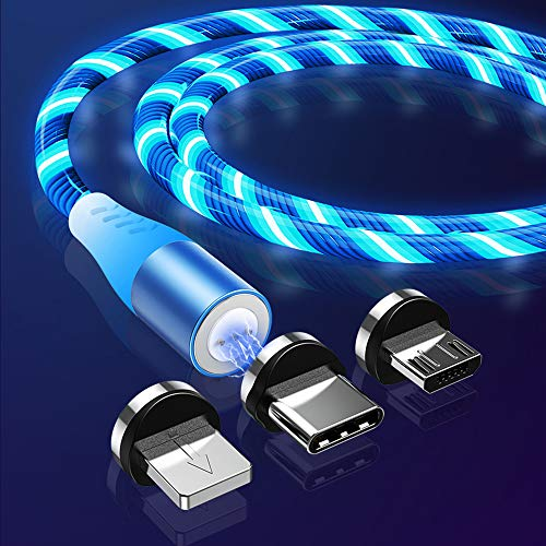 LED Fließendes magnetisches Ladekabel 2M, 3A Schnelllade- und Datensynchronisationskabel3 aus 1 Nylon, geflochten mit LED-Licht, kompatibel mit Micro-USB Typ C und i-Produkt (blau)