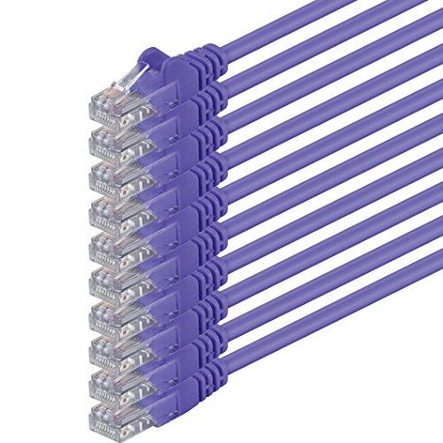 1aTTack.de 2m Cavo di Rete viola - 10x - Cat.6 Ethernet Gigabit Lan RJ45 10 100 1000 Mbit s - Cavo Patch UTP compatibile con Cat.5 Cat.5e Cat.7 Cat.8 - viola - 10x - 2m