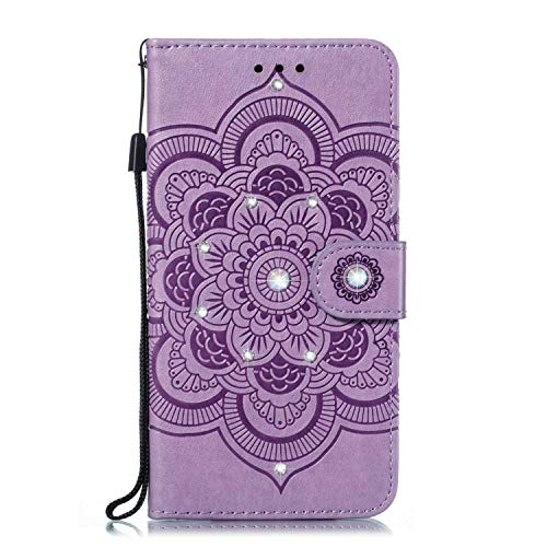 Galaxy S10e Hülle, SONWO PU Leder Tasche Handyhülle Kompatibel mit Samsung Galaxy S10e, Diamant mit Mandala-Prägung Glänzt Flip Brieftasche Stoßfest Schutzhülle mit Karte Schlitz, Lila