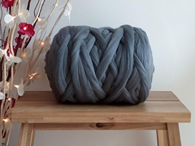 Dark Grey 100% Merino Wool Giant Yarn Extreme Arm Knitting Bulky Wool for Felting Tops Roving 100g - 5kg (4kg)