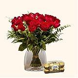 Pack Ramo 18 Rosas + Caja 16 Ferrero Rocher - Versalles - Pack Flores Frescas y Bombones Ferrero Rocher - Tarjeta dedicatoria de Regalo